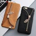 Dr. case para iphone 6 6 s 7 estojo de couro de luxo de moda Tampa traseira Para iPhone6 iPhone7 Crocodilo Padrão Slot Para Cartão de Telefone casos