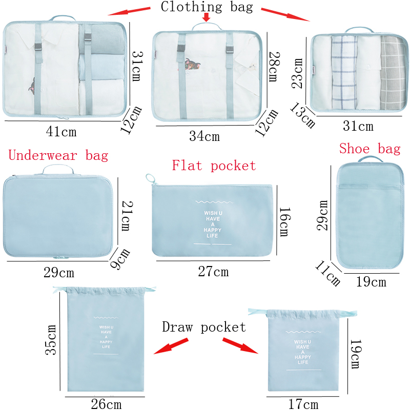 Image 2 - 8PCS/Set Cartoon pattern Quality Travel accessories kit Mesh storage Luggage Organizer Packing Cube for Clothing underwear bagTravel Accessories   -