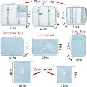 Image 2 - Kit de acessórios de viagem, 8 pçs/set, desenhos animados, de qualidade, malha, organizador de bagagem, embalagem, cubo para roupa íntima, saco
