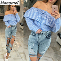 Slash Neck Off Shoulder Shirt Womens Plaid Blusas Femininas 2017 Backless Shirts Ruffles Long Sleeve Women's Blouse Tops C460