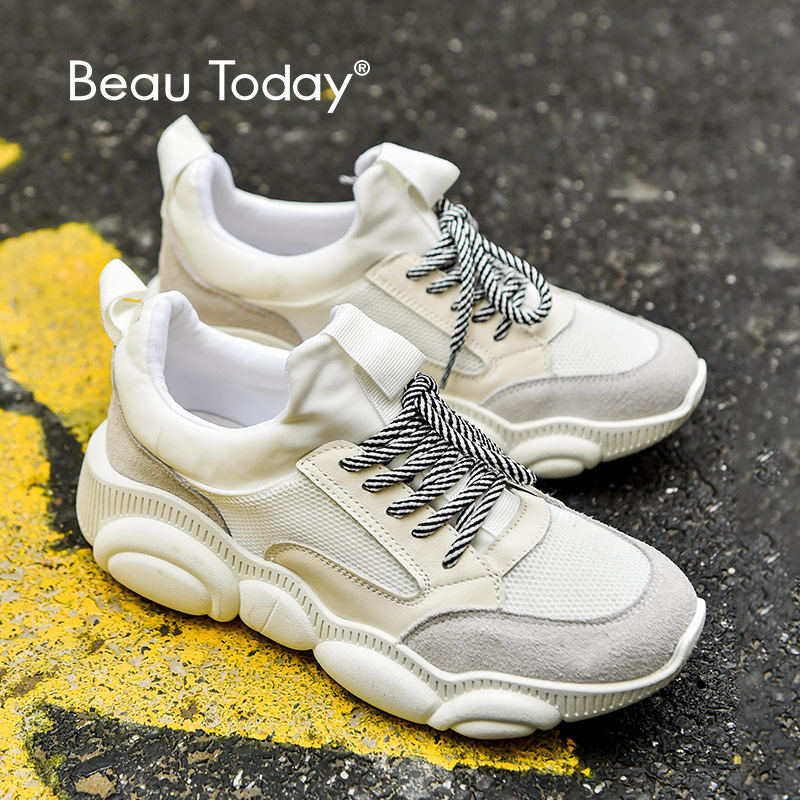 BeauToday Women Chunky Sneakers Genuine Cow Leather Round Toe Lace-Up Spring Lady Casual Platform Dad Shoes Top Quality 29520