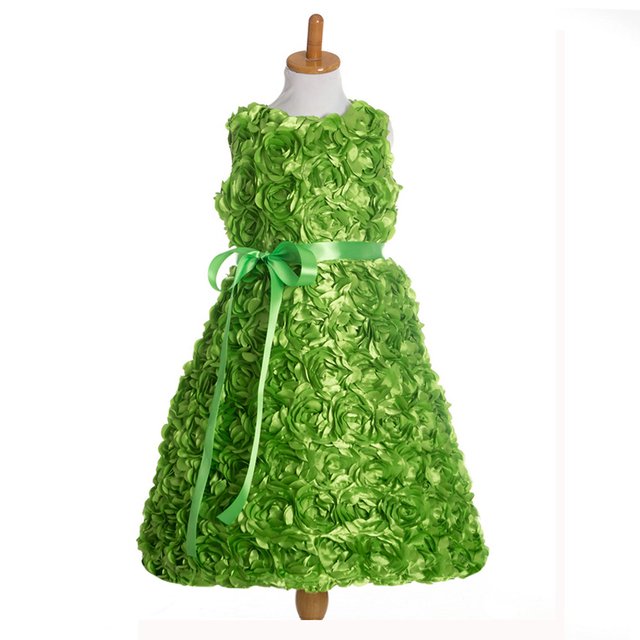 efa9ae9d71c9d6 Elegante Satijn Rozet Bloem Meisje Jurk voor Baby Meisje Avond  Verjaardagsfeestje gewaad Kind Maat 2 T