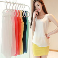 Fashion 2014 Spring And Summer Candy Colors Women Tank Tops Chiffon Vest White Black Yellow Orange