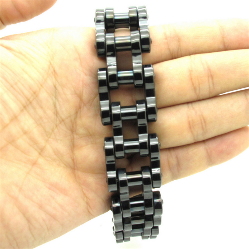 Hot 22mm Huge Heavy Men's Cool Black Motorbiker Biker Bracelet Jewelry Bangle 316L Stainless Steel Free Shipping