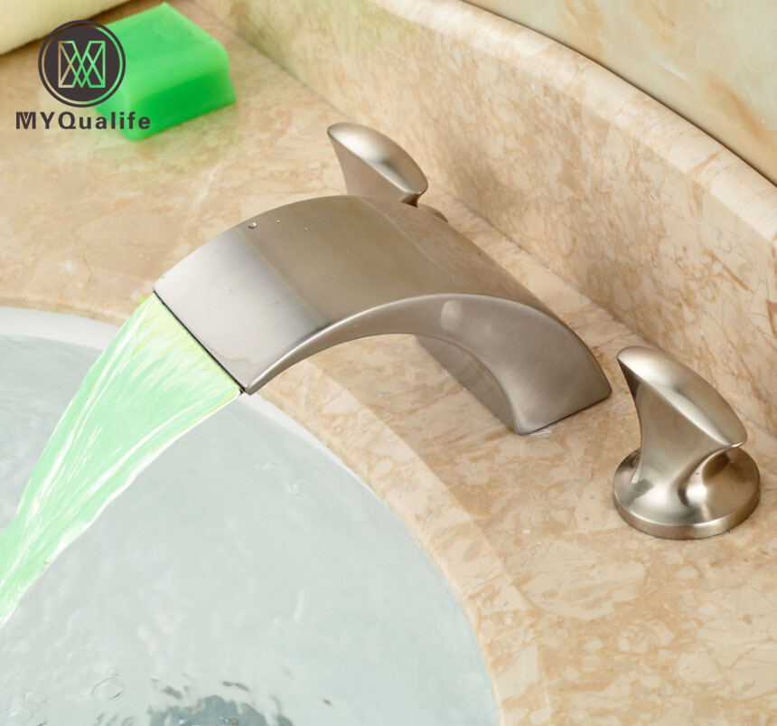 Luxury 3 Color Changing LED Waterfall Spout Bathroom Sink Basin Mixer Water Faucet Dual Handle Brushed Nickel Finish