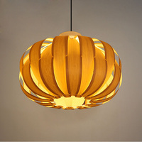 Юго Восточной Азии тыквы Форма Haing Фонари круглой древесины ручной работы плетеный E27 подвесной светильник для Обеденная барный светильник