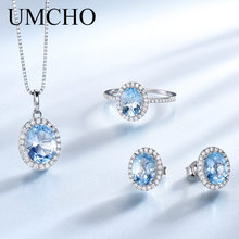 цена на UMCHO Created Sky Blue Topaz Jewelry Sets Elegant 925 Sterling Silver Jewelry Necklaces Rings Earrings For Women Wedding Gifts