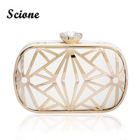 Luxurious Hollow Out Gold White Clutch Crystal Diamond Evening Clutch Bags Purses Women Lady Bridal Chains