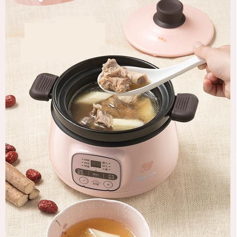 Automatic 220V Electric Baby Porridge Cooking Pot Mini Multi Cooker Electric Stewing Pot Cooker EU/AU/UK/US Easy Operation 220v household electric slow stewing pot machine baby porridge food maker automatic ceramic inner stewing cooker eu au uk