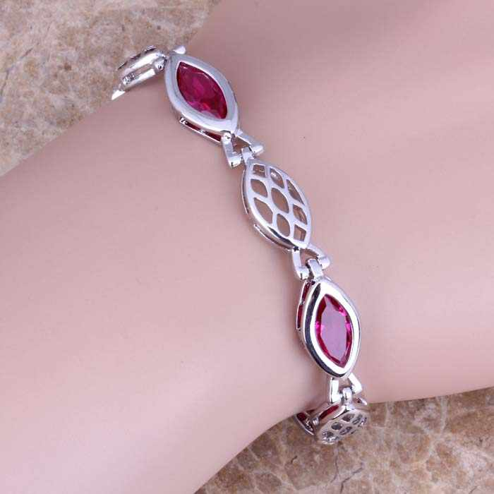 Dazzling Red Cubic Zirconia 925 Sterling Silver Chain link Bracelet 6.5-8 polegada S0629