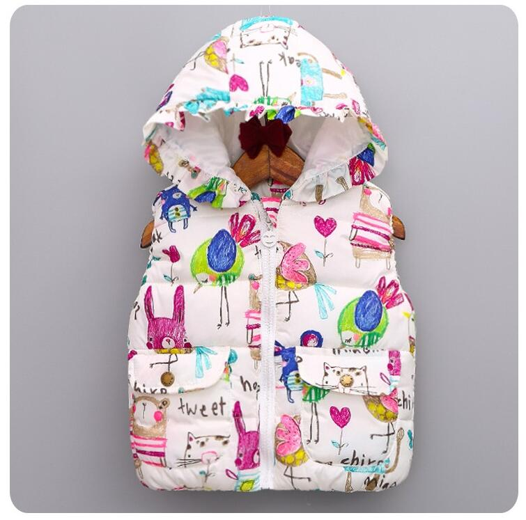 New Baby Girls Vest Children Winter Animal Graffiti Thick Princess Jacket Kids Character Hooded Casual Catton Clothes