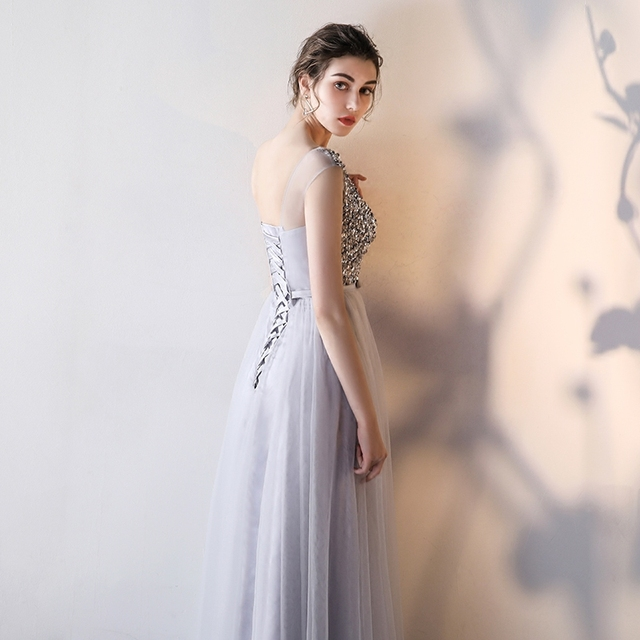 LAMYA Sexy O Neck Bling Beading A Line Prom Dresses Princess Evening Party Dress Elegant Crystal Gowns robe de soiree 1