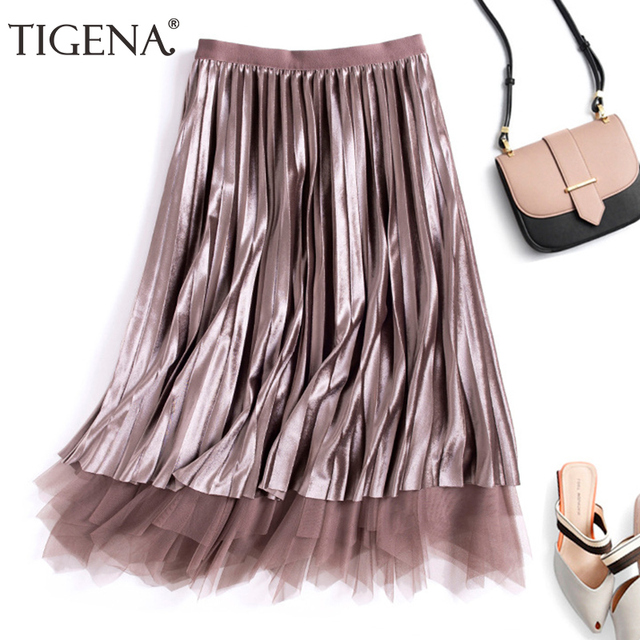 65d12d302a TIGENA Reversible Velvet Tulle Long Skirts Women Fashion 2018 Autumn Winter  High Waist Pleated Skirt Female Elegant Long Skirt
