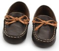 Wholesale cheap brown soft PU leather baby moccasins with bow-tie boat loafer baby boys shoes leisure first walkers
