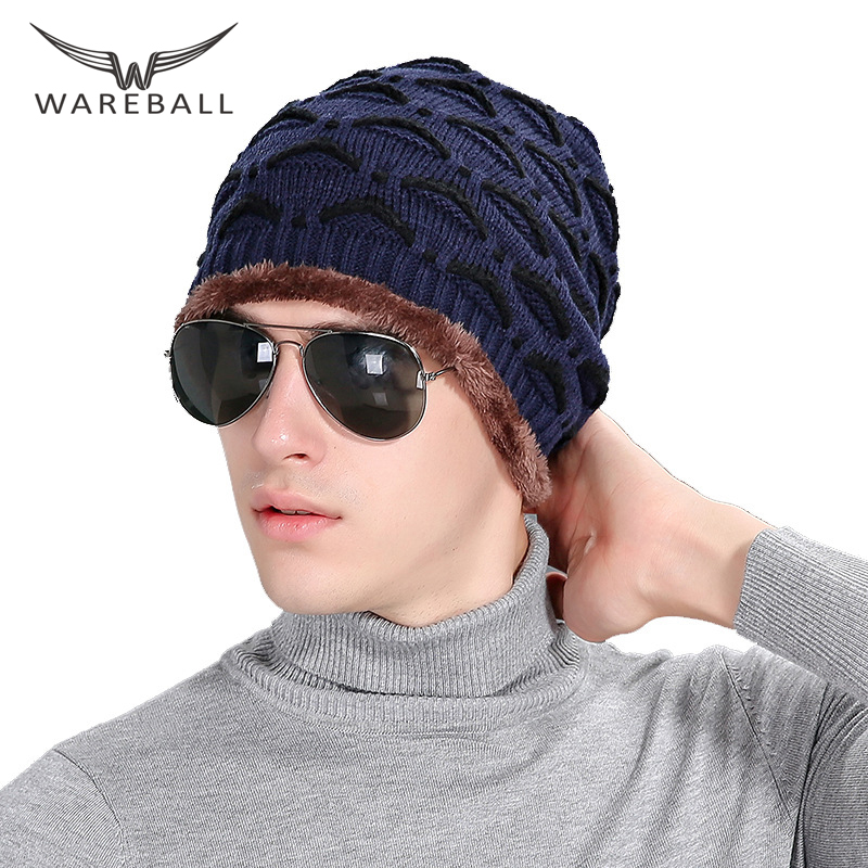 WAREBALL Beanies Knit Men's Winter Hat Caps Skullies Bonnet Winter Hats For Men Women Beanie Fur Warm Baggy Wool Knitted Hat autumn winter beanie fur hat knitted wool cap with raccoon fur pompom skullies caps ladies knit winter hats for women beanies