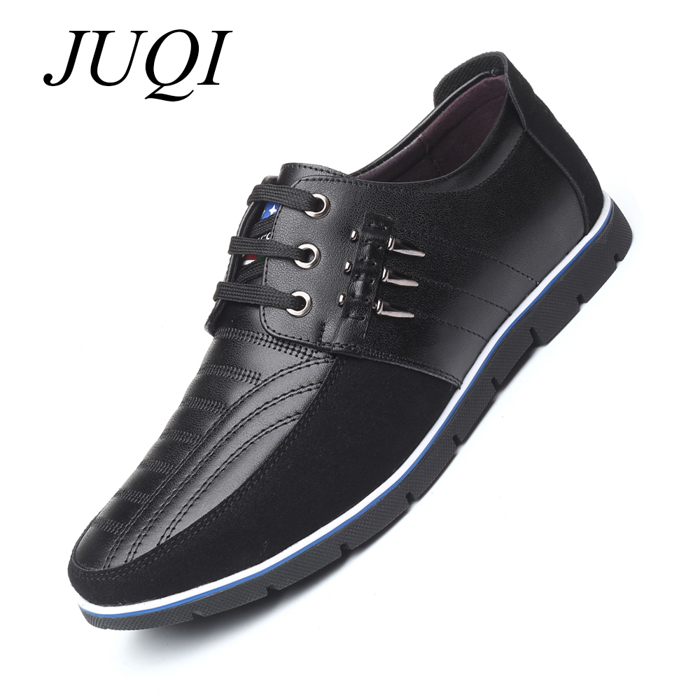 JUQI High Quality Leather Men Casual Shoes Soft Moccasins Breathable For Flats Big Size 38-48
