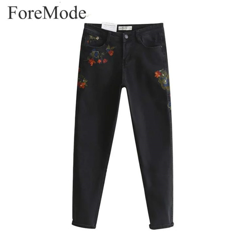 ФОТО ForeMode Skinny Jeans for Women 2017 New Spring Flower Embroidery Stretch Jeans Female Denim Pencil Pants Black
