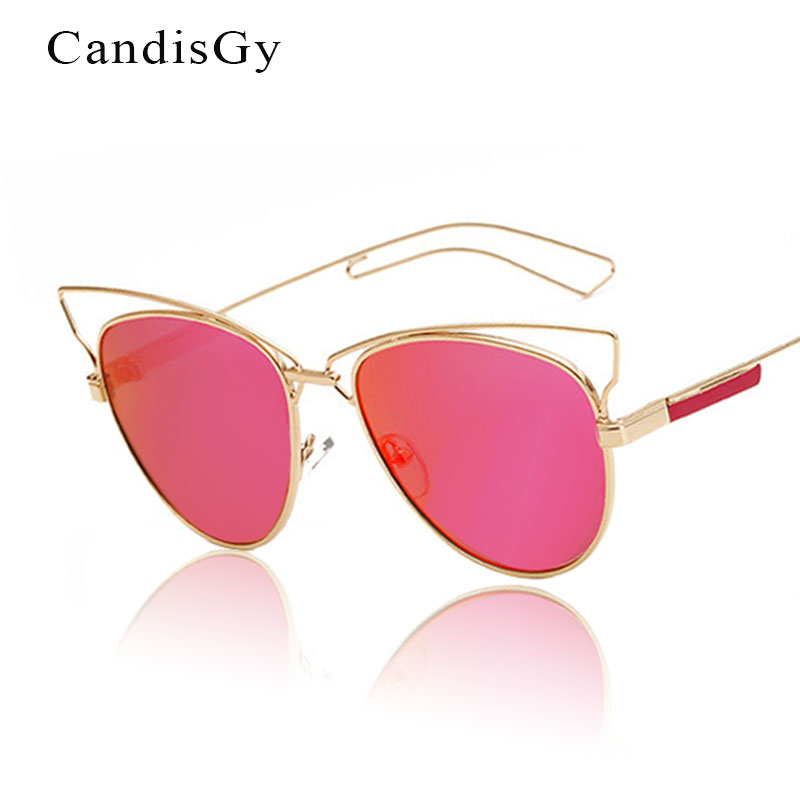 998e548877d01 Cateye Olho de gato Nova Chegada Mulheres Sunlgasses Espelho Lady Cool  Designer de Moda Da Marca óculos de Sol do Metal YD53