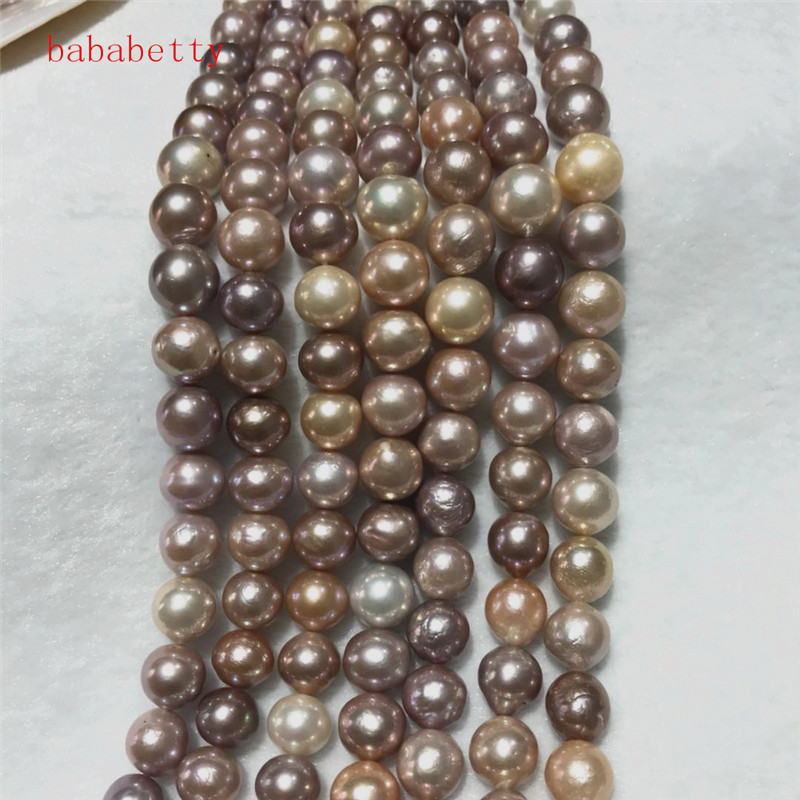 NEW Natural 11 13mm multicolor Baroque Edison Freshwater Cultured Nuclear beads Pearl 16 Loose beads