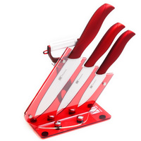 Best Three Piece Ceramic Knives Gift Set Plus Peeler And Red Acrylic Knives Holder XYJ Brand