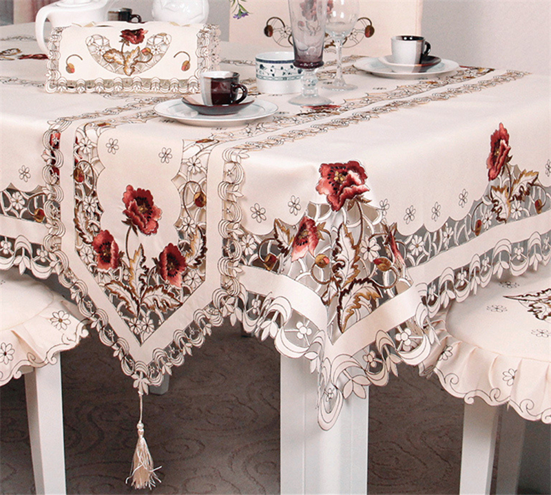 European Pastoral Style Floral Embroidered Pattern Tablecloth Soft&thick Coffee Cabinet Or <font><b>Oven</b></font> Cover Hotel Use Polyester Fabric