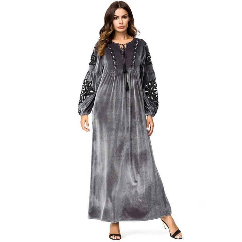 Uae Abayas For Women Qatar Bangladesh Velvet Muslim Hijab -6554