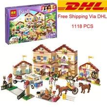 Bela 10170 1118Pcs Friend Summer Riding Camp Model Building Kit Minifigure Housework Time Panorama Blocks Brick Compatible Gift