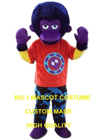 Фиолетовый орангутанг талисмана APE взрослый размер пользовательских Герой мультфильма Косплей Карнавальный Костюм 3278