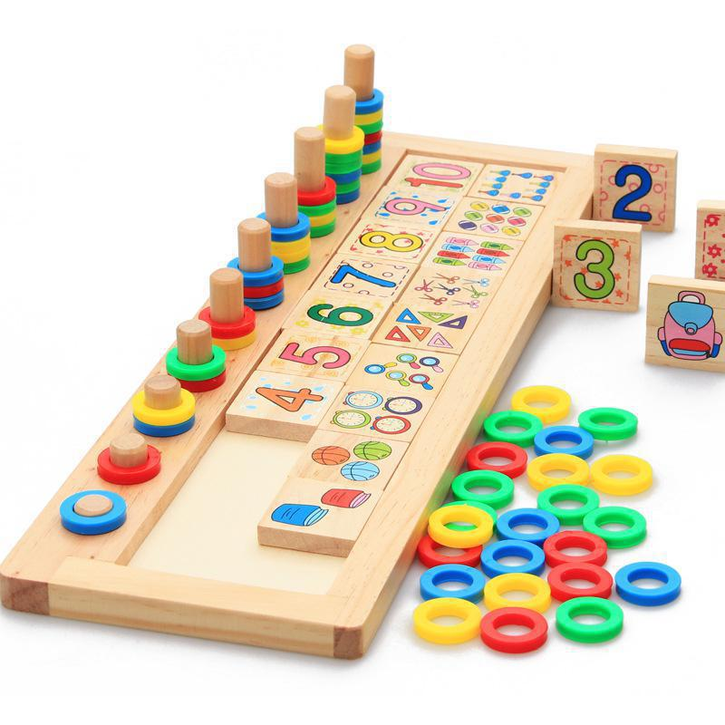 BOHS Children Wooden Montessori Materials Learning To Count Numbers Matching Early Education Teaching Math Toys montessori education wooden toys four color game color matching early child kids education learning toys building blocks