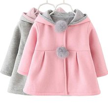 Shujin Baby Mädchen Wolle Mantel Jacke Kaninchen Ohr Hoodie Casual Warme Baby Mit Kapuze Jacke Oberbekleidung Rosa Rot Grau 3 Farbe kleidung(China)