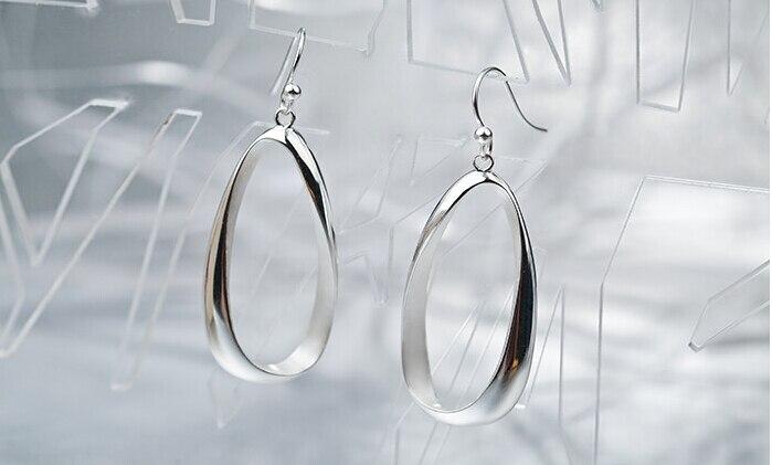Fine Sterling 925 Silver Earrings Women Lucky Geometric Dangle Earrings silver hollow geometric dangle earrings