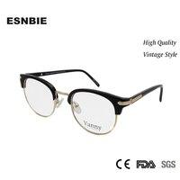 4224c41a0 High Quality Mens Glasses Frame Semi Rimless Optical Eyewear Acetate Round  Glass Women Optical Oprawki Okularowe. ESNBIE Alta Qualidade Das Mulheres  Óculos ...
