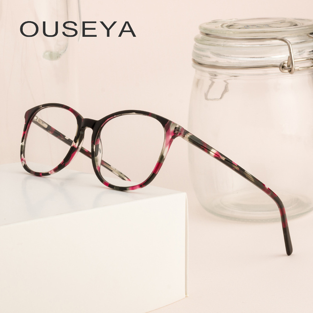 619e878760 Acetate Women Eyewear frames Women Round Vintage Retro Flat Top Fashion  Design Glasses Frame  CBPA029