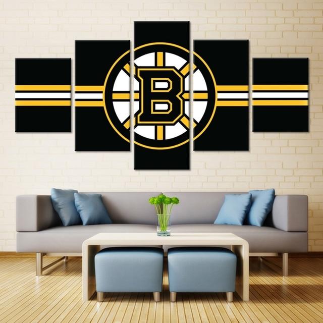 B Logo Ice Hockey Boston Bruins Oil Painting Canvas Wall Art Sport