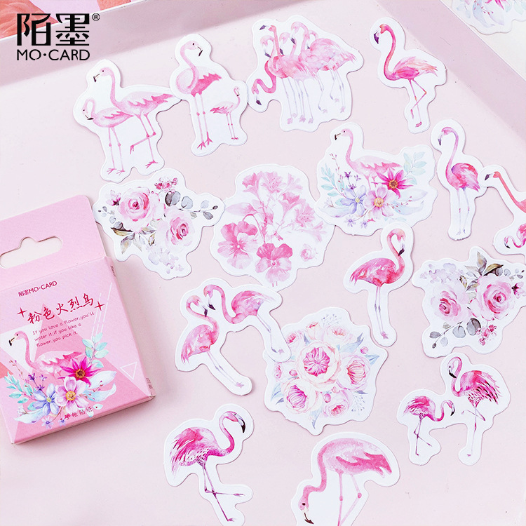 Pink Flamingos Stickers Set Decorative Stationery Stickers Scrapbooking DIY Diary Album Stick Lable