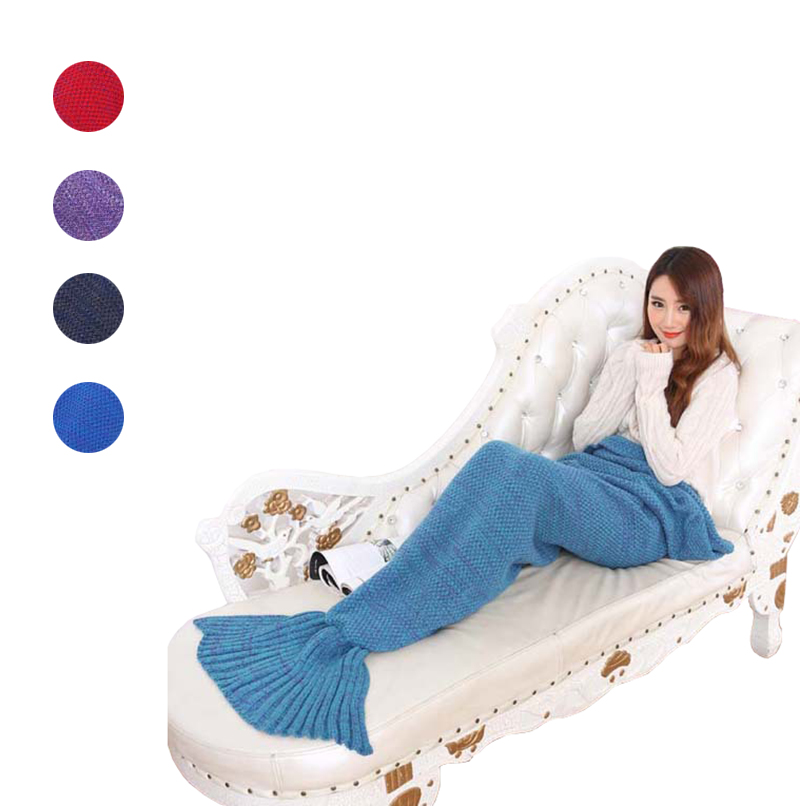 Knitted Mermaid Tail Blanket Handmade Crochet Woolen Yarn Adult Bed Wrap Solid Super Soft Sleeping Bag Bedding 90cm 195cm Fr50 thicken soft knitted sleeping bag kids wrap mermaid blanket