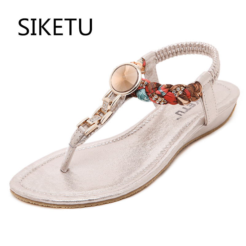 SIKETU New Summer women flat sandals Ladies Summer Bohemia Beach Flip Flops Shoes Casual Shoes Beach slippers 4 colour siketu 2017 new summer beach slipper flip flops sandals women mixed color casual sandals shoes flat free shipping plus size