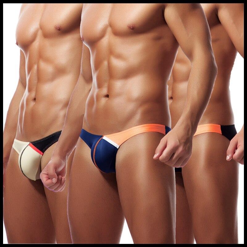 Buy Man Sexy Underwear/Male Ice Silk Thin Bulge Pouch Briefs Panties/Gay Funny Transparent Bikini Lingerie