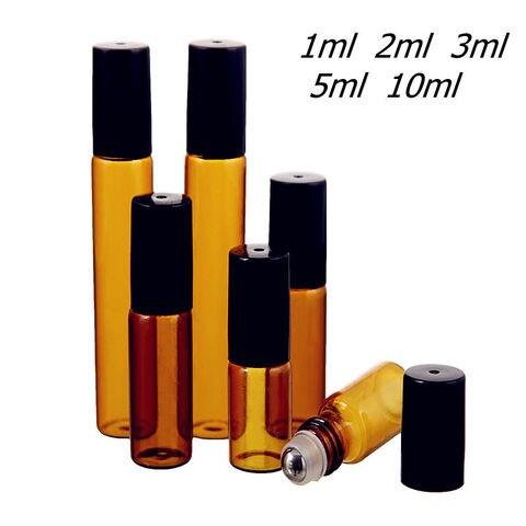 50 pcs lote 1ml 2ml 3ml 5ml 10ml ambar rolo de vidro fino na garrafa