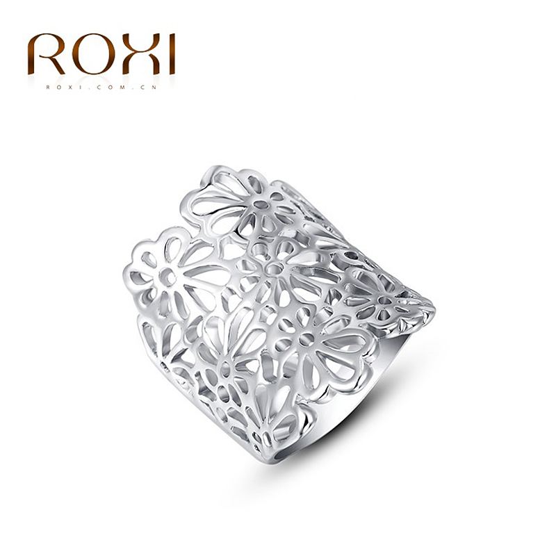 ROXI Brand White gold Color Color Romantic Elegant Flower Ring Statement Rings Fashion Jewelry Women Party Wedding Jewelry