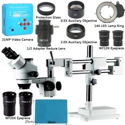 3.5X 7X 45X 90X Doppio Boom Stand Zoom Simul Trinoculare Stereo Microscopio + 21MP Focale della Macchina Fotografica del Microscopio Per Uso Industriale PCB di riparazione