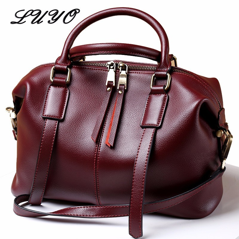 LUYO Natural Cowhide Leather Handbags Fashion Women Boston Genuine Leather Vintage Shoulder Messenger Bags Female Laptop Tote soft cowhide genuine leather women shoulder bags fashion handbags simple european style boston messenger bag pillow female packs