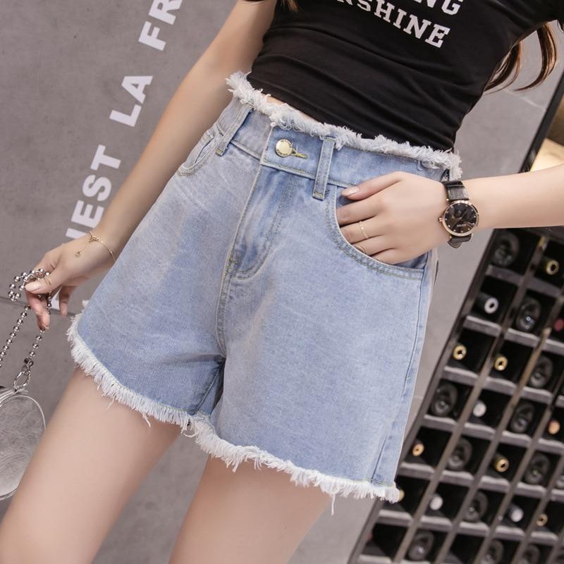 BerylBella Women Shorts Denim Summer Cotton High Wasit Casual Shorts For Women Wide-legged Loose Stretch Elastic Shorts Female