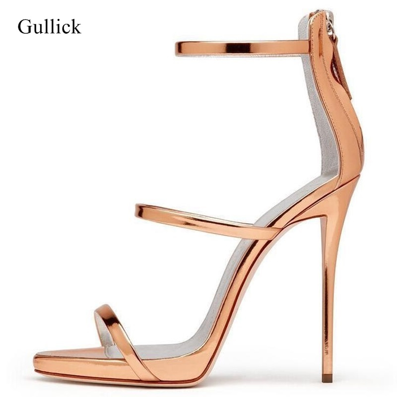 Gold Metallic Leather Cross Strappy Sandals Women Cut-out Zipper Summer Dress Shoes High Platform Heels Lady Office Shoes metallic strappy flat sandals