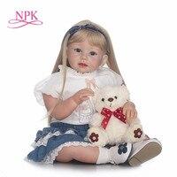 NPK 70 см силикона возрождается младенцев Lifelike малыша Angel Baby Bonecas девушка кукла Bebe Reborn Brinquedos силиконовые игрушки для детей подарок