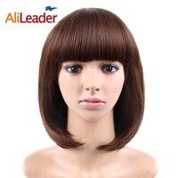 Alileader סינטטי Bob פאות 23 צבעים שחורים חום קצר Staight סיבים עמידים בחום פאת קוספליי שיער לנשים מלא יומית שיער
