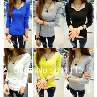 Trend Knitting  the Inner tops fashion leisure cotton V-neck falbala slim Long sleeve T-shirt for women 5 colors