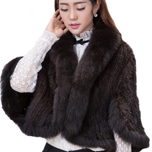 real fur poncho knitted mink jackets mink fur coat china natural Fox fur collar  coat  fur coat  winter gift for a woman