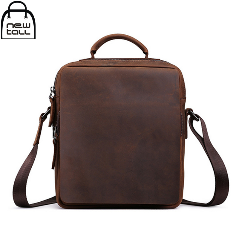 ФОТО [NEWTALL]100% Cowhide Leather Men's Business Laptop Briefcases One shoulder Restore Ancient Ways Crazy Horse Leather Bags B1144