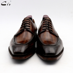 Image 4 - cie men dress shoes leather patina brown men office shoe genuine calf leather outsole men suits formal leather handmade No.7